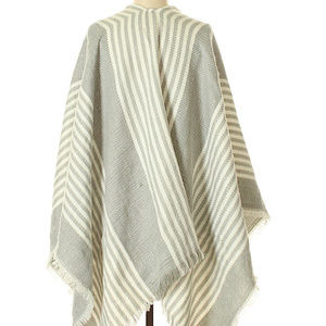 Grey and white striped scarf/wrap